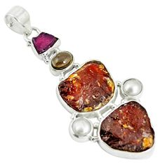 Clearance Sale- 925 silver natural multi color tourmaline rough pearl pendant jewelry d17855