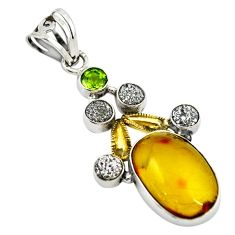 Clearance Sale- Natural green amber from colombia druzy 925 silver pendant d18523