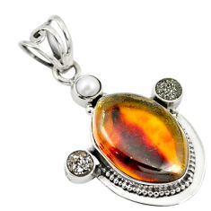 Clearance Sale- Natural green amber from colombia druzy pearl 925 silver pendant d18525