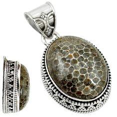 Natural black stingray coral from alaska 925 silver pendant d18550