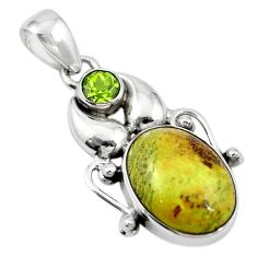 Natural green gaspeite peridot 925 sterling silver pendant jewelry d18571