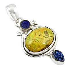 Natural green gaspeite druzy 925 sterling silver pendant jewelry d18575