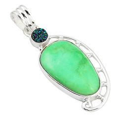 Clearance Sale- Natural green variscite sapphire 925 sterling silver pendant d18592