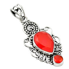 Natural orange cornelian (carnelian) 925 sterling silver pendant d18609
