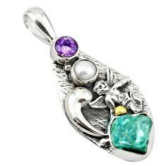 925 silver natural aqua aquamarine rough amethyst pearl pendant d18614