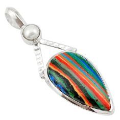 Natural multi color rainbow calsilica pearl 925 silver pendant d18663