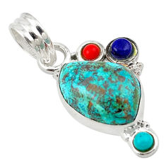 925 sterling silver natural blue chrysocolla turquoise pendant jewelry d18677