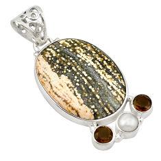 Natural multi color ocean sea jasper (madagascar) 925 silver pendant d18686