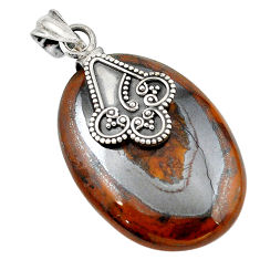 Natural brown tiger's hawks eye oval 925 sterling silver pendant d18691