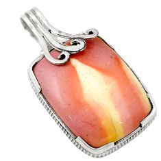 Clearance Sale- Natural brown mookaite 925 sterling silver pendant jewelry d18701