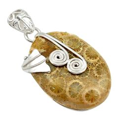 Natural yellow fossil coral (agatized) petoskey stone 925 silver pendant d18702