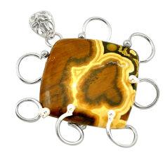 Natural multi color ocean sea jasper (madagascar) 925 silver pendant d18707