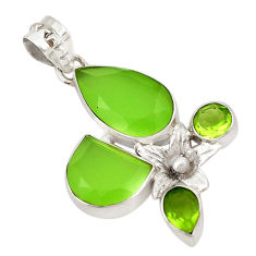 Clearance Sale- 925 sterling silver natural green chalcedony peridot pendant jewelry d18731