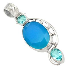 Natural blue chalcedony topaz 925 sterling silver pendant jewelry d18736