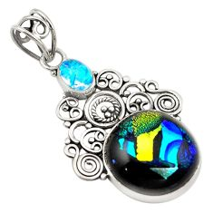 Multi color dichroic glass 925 sterling silver pendant jewelry d18746