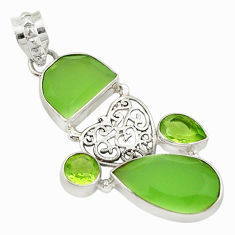 Clearance Sale- Natural green chalcedony peridot 925 sterling silver pendant jewelry d18777
