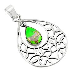 Green copper turquoise 925 sterling silver pendant jewelry d18786