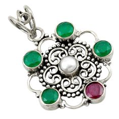 Green emerald red ruby quartz 925 sterling silver pendant jewelry d18829
