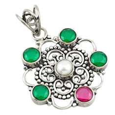 Green emerald red ruby quartz pearl 925 sterling silver pendant d18835
