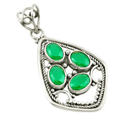 925 sterling silver green emerald quartz oval pendant jewelry d18839