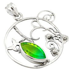 Clearance Sale- Green tourmaline (lab) 925 sterling silver pendant jewelry d19103