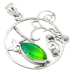 Clearance Sale- 925 sterling silver green tourmaline (lab) marquise pendant jewelry d19116