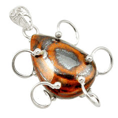 Natural brown tiger's hawks eye pear 925 sterling silver pendant d19176