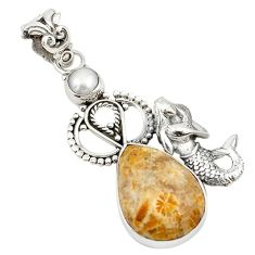 Fossil coral (agatized) petoskey stone 925 silver fairy mermaid pendant d19184