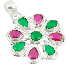 Green emerald red ruby quartz 925 sterling silver pendant jewelry d19225