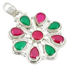 Clearance Sale- Red ruby green emerald quartz 925 sterling silver pendant jewelry d19248