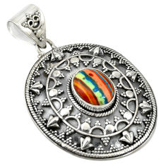 Clearance Sale- Natural multi color rainbow calsilica 925 sterling silver pendant d19259