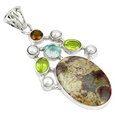 Clearance Sale- Natural brown mushroom rhyolite smoky topaz pearl 925 silver pendant d19277