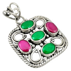 Green emerald red ruby quartz 925 sterling silver pendant jewelry d19281