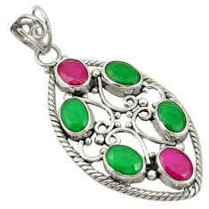 Green emerald red ruby quartz 925 sterling silver pendant jewelry d19287