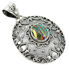 925 sterling silver natural multi color rainbow calsilica pendant jewelry d19305