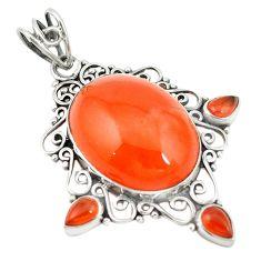 Natural orange cornelian (carnelian) 925 sterling silver pendant d19313