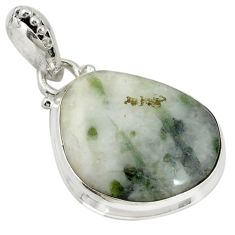 925 sterling silver natural green tourmaline in quartz pendant jewelry d19339