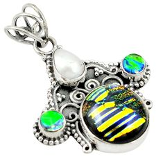 Clearance Sale- Multi color dichroic glass pearl 925 sterling silver pendant jewelry d19341