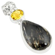 Clearance Sale- Natural golden seraphinite (russian) citrine 925 silver pendant jewelry d19351