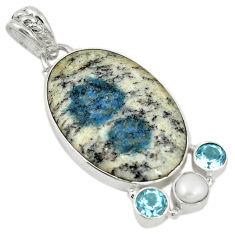 Clearance Sale- Natural k2 blue (azurite in quartz) topaz pearl 925 silver pendant d19363