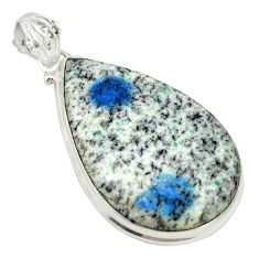 Natural k2 blue (azurite in quartz) 925 sterling silver pendant d19385