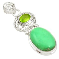 Natural green variscite peridot 925 sterling silver pendant jewelry d19387