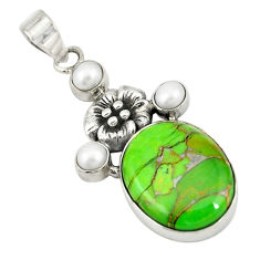 Green copper turquoise white pearl 925 sterling silver pendant jewelry d19407