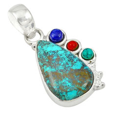 Clearance Sale- 925 sterling silver natural blue chrysocolla turquoise pendant jewelry d19417