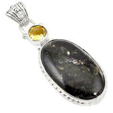 Clearance Sale- Natural golden seraphinite (russian) citrine 925 silver pendant d19421