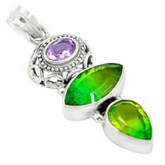 Clearance Sale- Green tourmaline (lab) purple amethyst 925 sterling silver pendant d19442