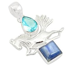 Clearance Sale- 925 sterling silver natural blue kyanite topaz horse pendant jewelry d19465