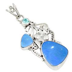 Clearance Sale- Natural blue doublet opal australian topaz 925 silver pendant d19468