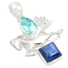 Clearance Sale- 925 sterling silver natural blue kyanite topaz horse pendant jewelry d19480
