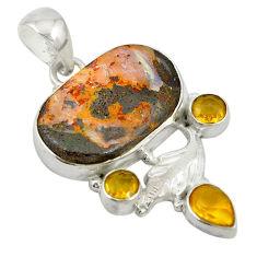 Clearance Sale- Natural brown boulder opal citrine 925 sterling silver pendant d19486